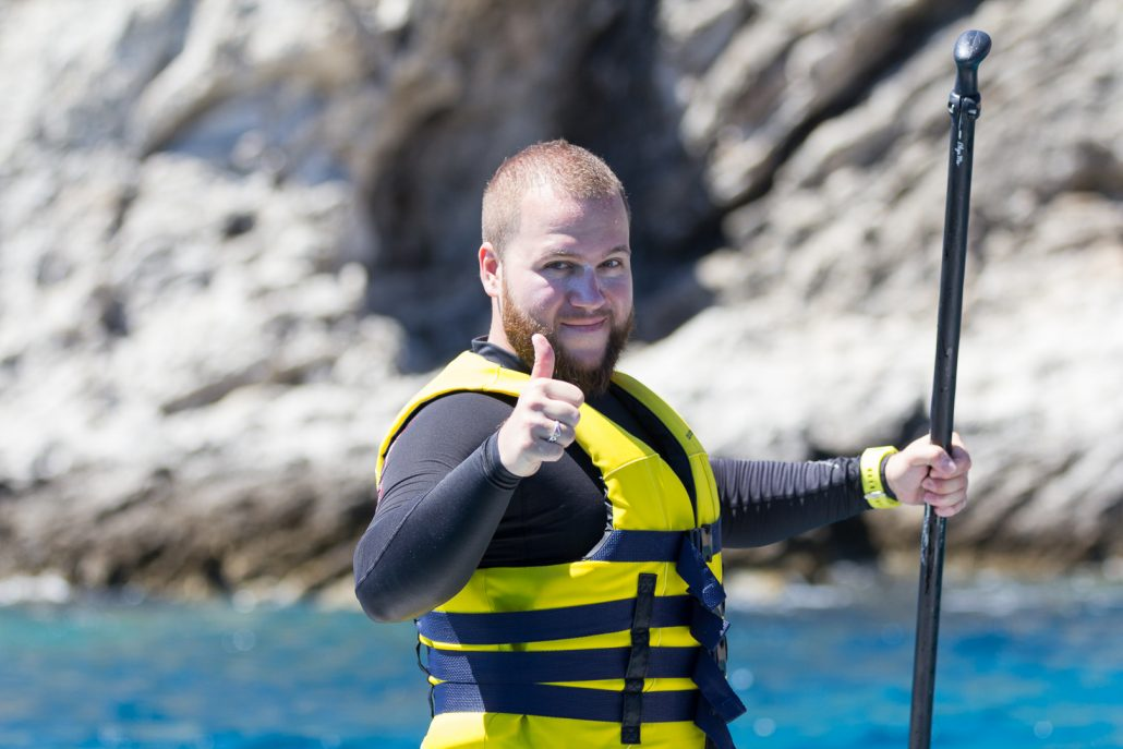 Paddler giving thumbs up during SUP Lesson at Paddle Paradise Rhodes