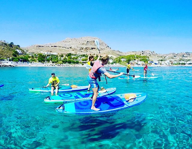 Synchronized SUP boarding at its finest  #supfreestyle #suprhodes #supadventure #paddleboarding
