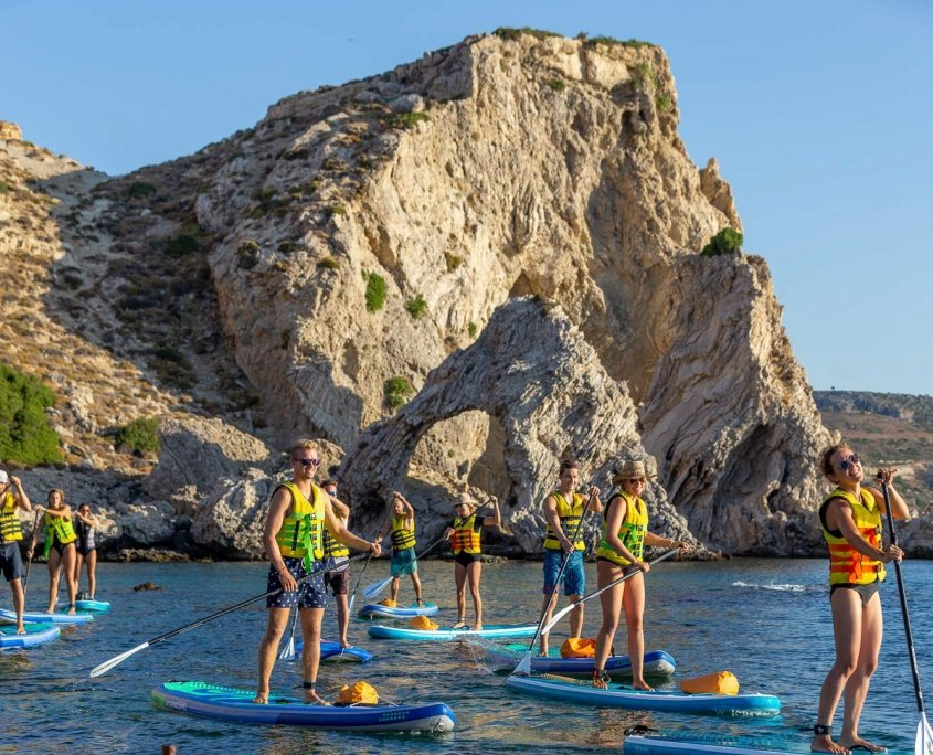 People on stand up paddle boards paddling in front of rocky terrain.
